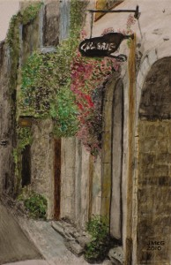 Painting of a medieval street with a gallery sign