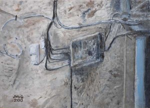 Painting showing wires and a downpipe