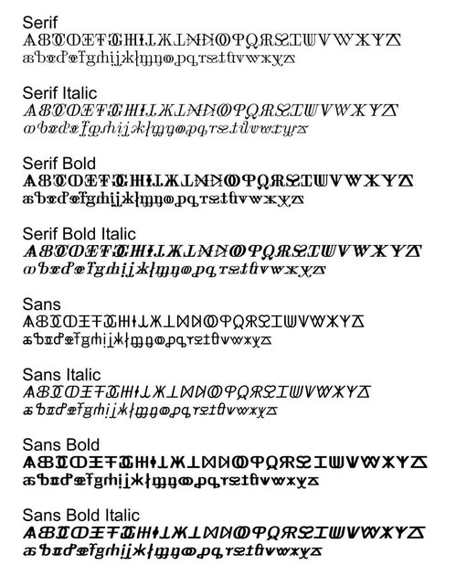 Image showing the alphabet in various styles of the AblBeebl font