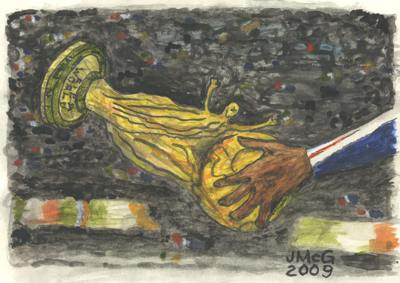 Painting showing a hand touching the World Cup trophy