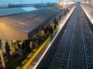 Photo of canopy shelter in the rain, Newbridge railway station, Co. Kildare