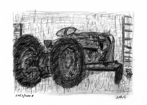 pencil sketch showing a dishevelled tractor